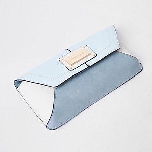 Blue faux leather envelope clutch bag