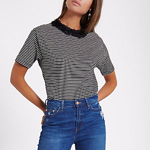 Black stripe flower neck boxy T-shirt