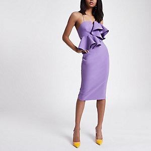 Robe moulante péplum violette
