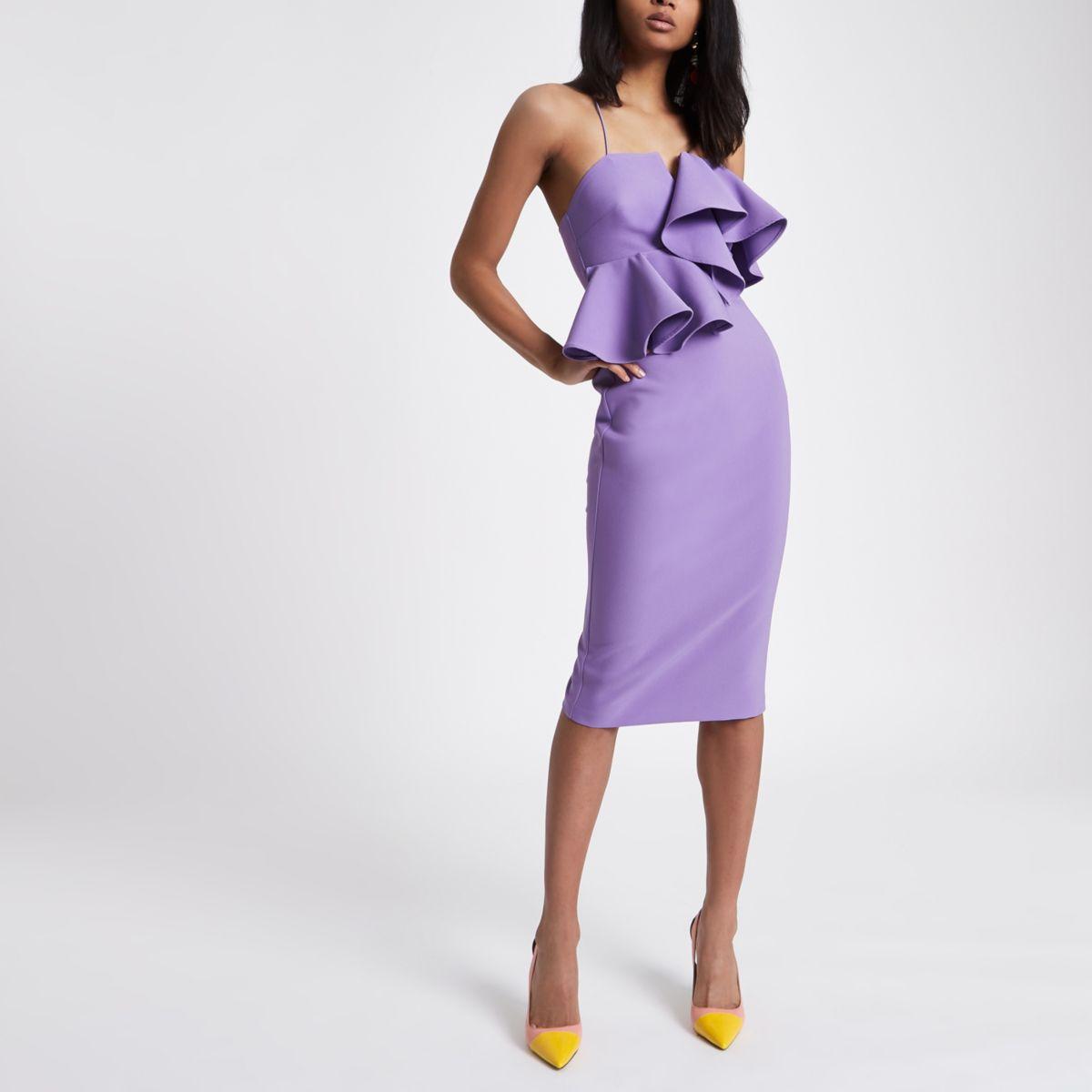 Purple peplum waist bodycon dress