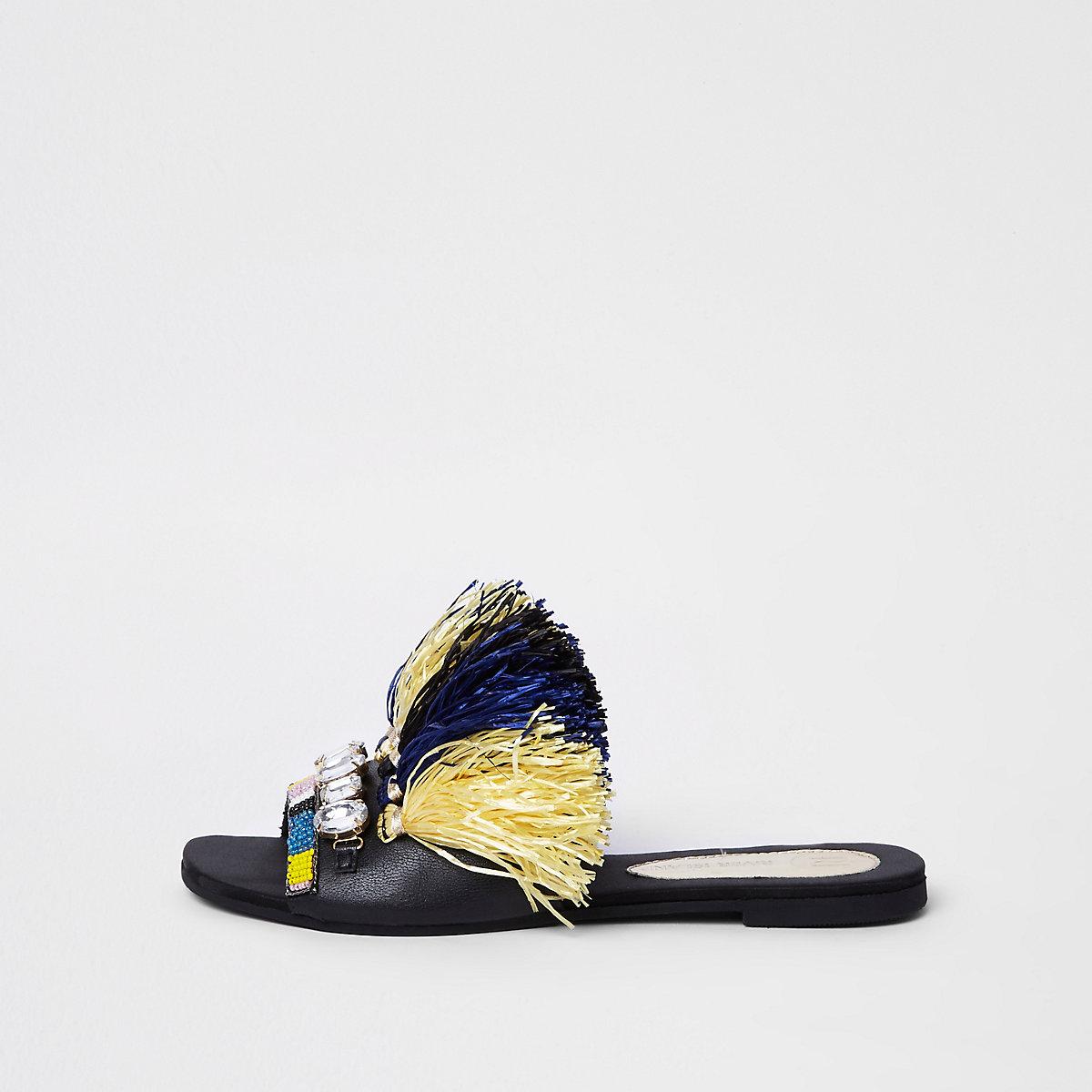 Dark blue fringe embellished sandals