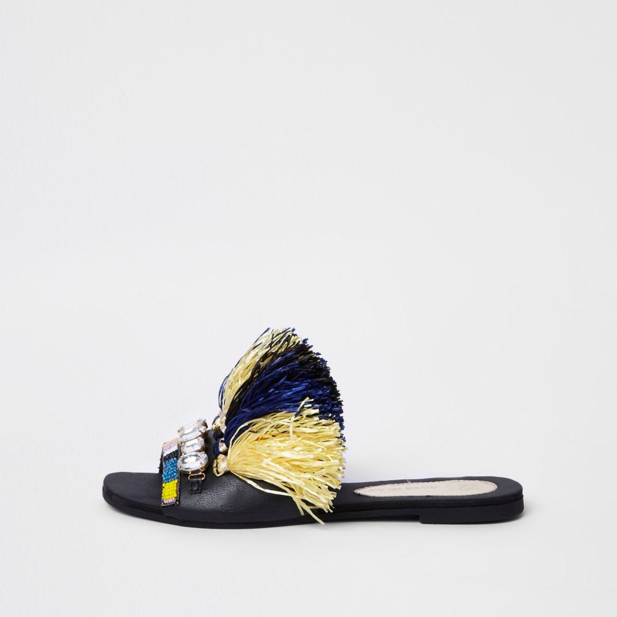 Donkerblauwe versierde sandalen met franje