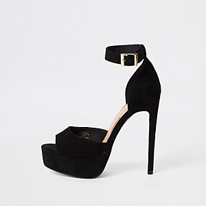 Black peep toe platform sandals