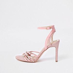 Sandales minimalistes roses à breloques