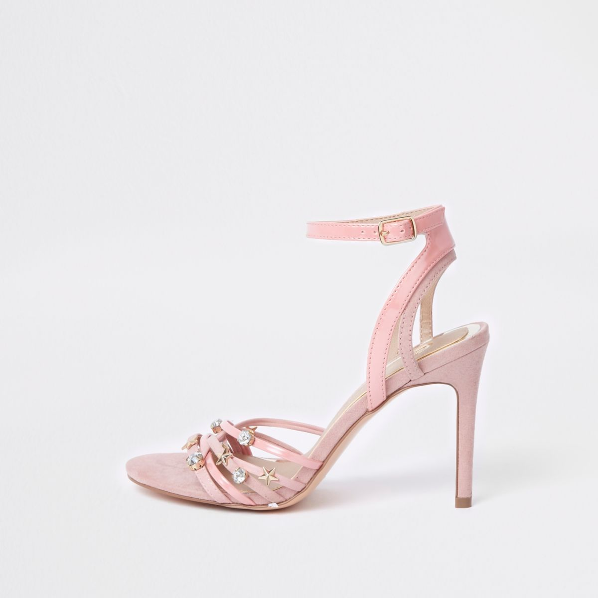 Pink multi charm barely there sandal