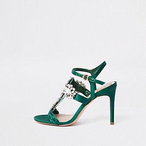 Sandales vertes minimalistes ornes de pierreries