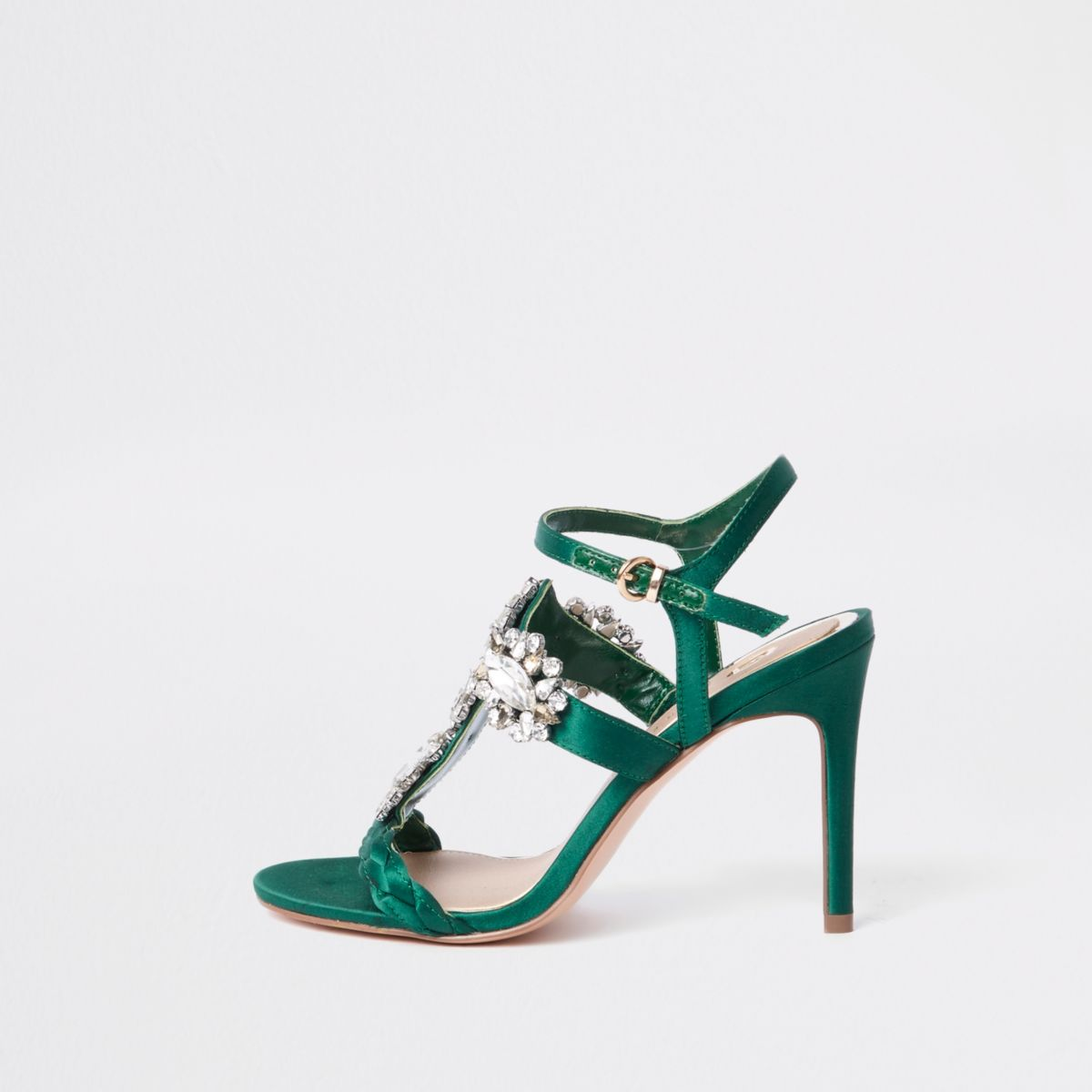 Green barely there jewel embellished sandals