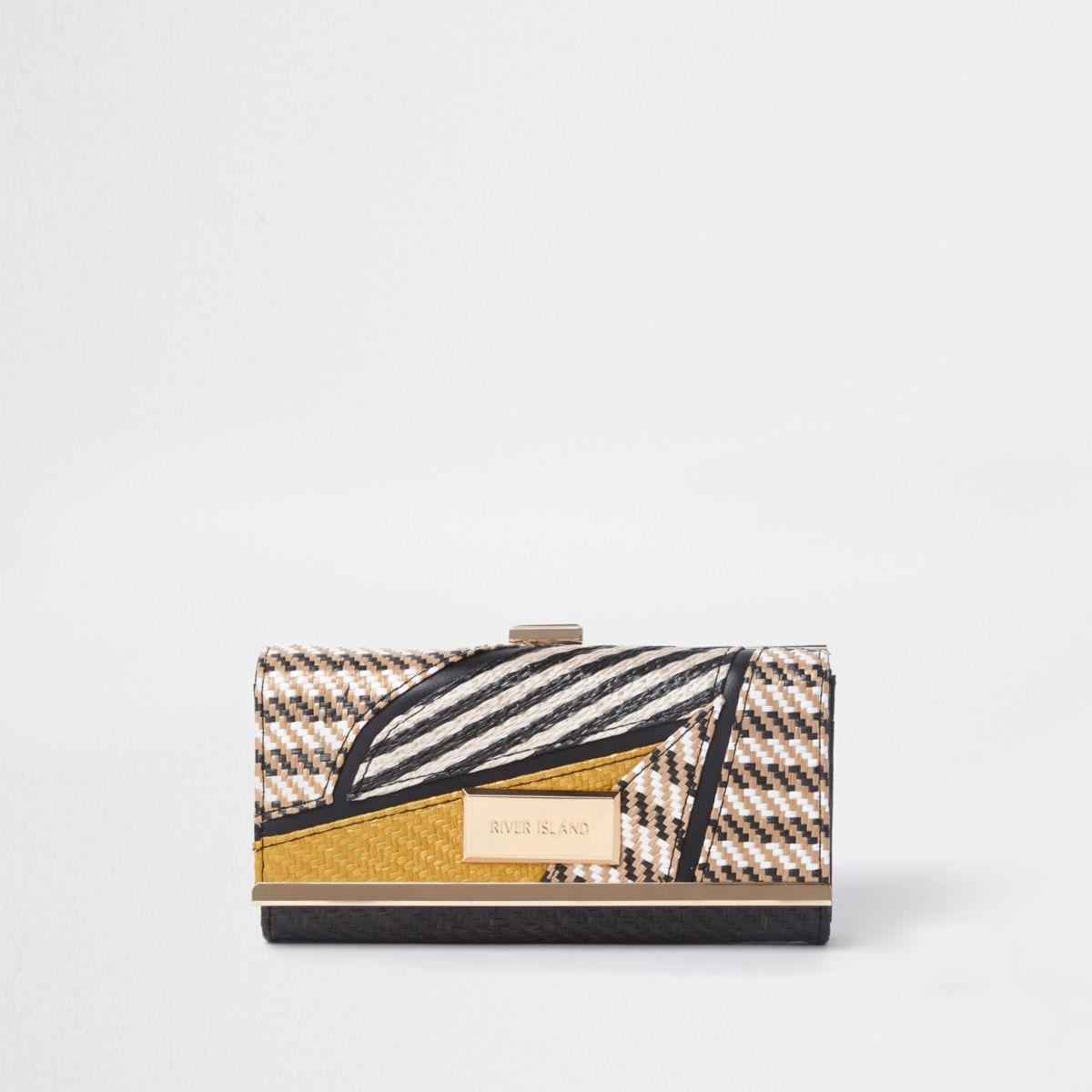 Zwarte geweven portemonnee met druksluiting en uitsnedes
