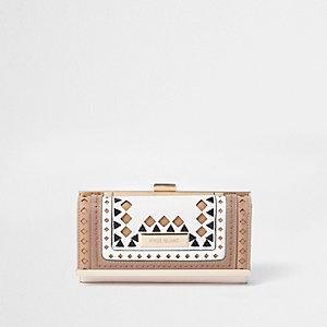 Beige diamond cut out clip top purse