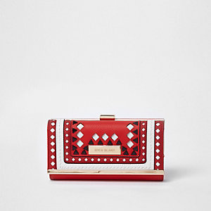 Portefeuille rouge à motifs losanges découpés avec fermoir clip