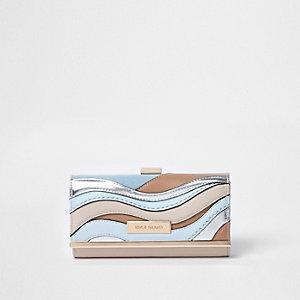 Blue metallic cutabout clip top purse