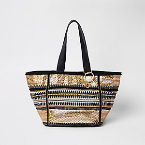 Black and gold embroidered metallic beach bag