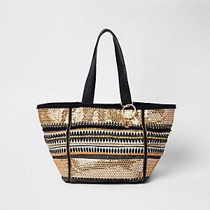 Zwart met goudkleurig geborduurd metallic strandtas