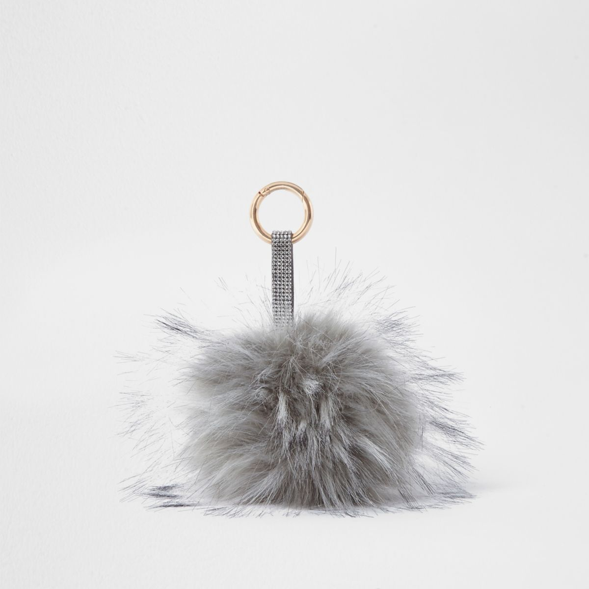 Grey large faux fur pom pom keyring