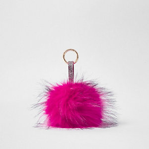 Bright pink large faux fur pom pom keyring