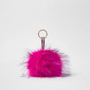 Porte-clés à gros pompon en fausse fourrure rose vif
