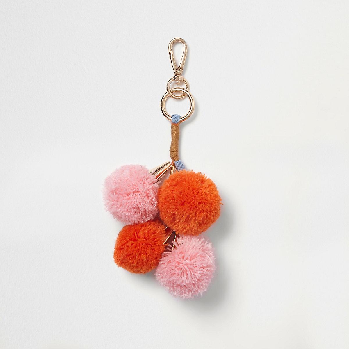 Pink and orange pom pom charm clip on keyring