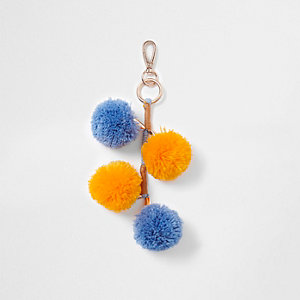 Yellow and blue pom pom charm clip on keyring