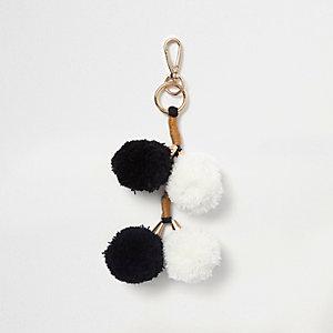 Porte-clés à breloque pompon noir et blanc