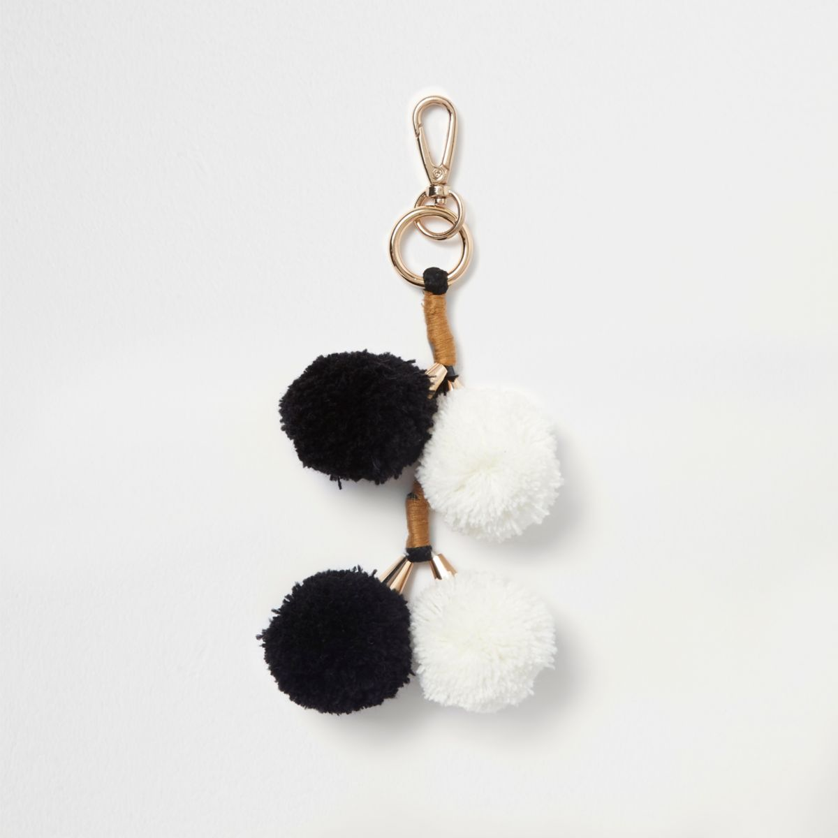 Black and white pom pom charm clip on keyring