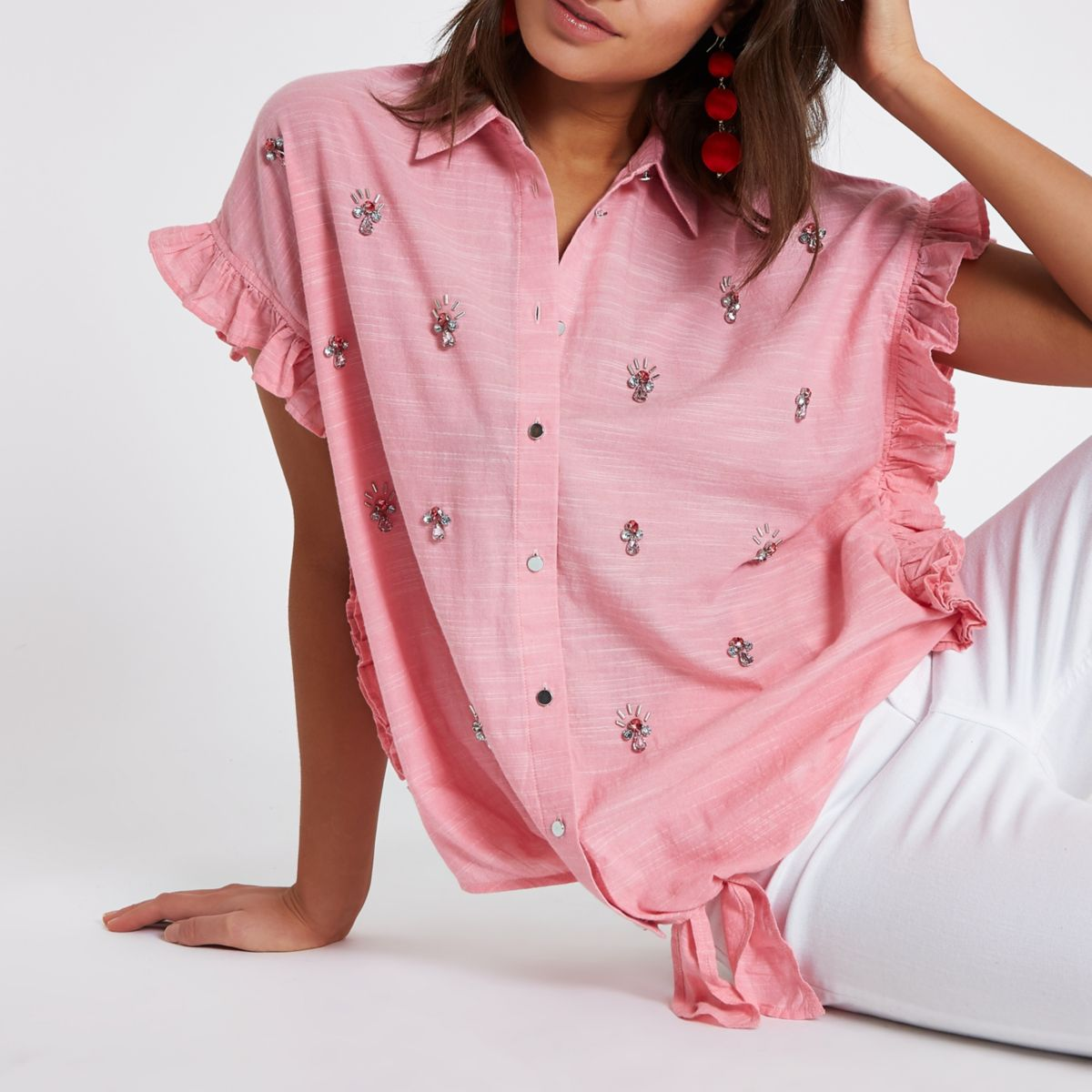 Pink embellished short frill sleeve shirt