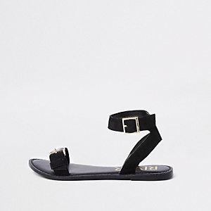 Black faux leather gem buckle sandals