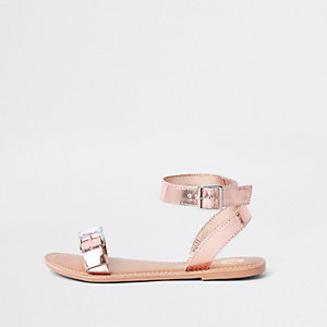Rose gold faux leather gem buckle sandals