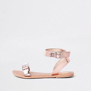 Rose gold faux leather gem buckle sandals