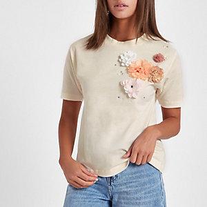 Crème T-shirt met 3D bloemen