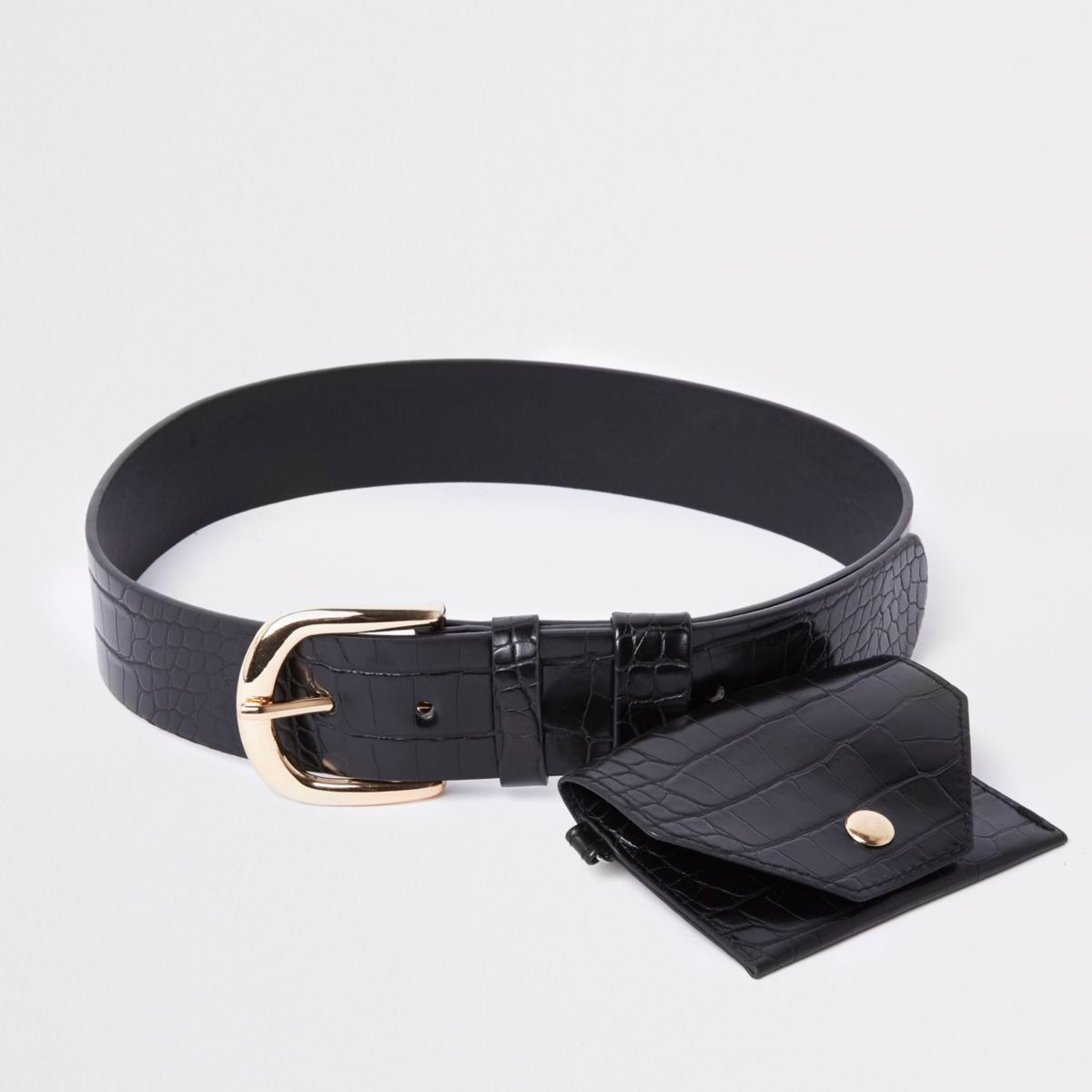 Black croc purse waist belt