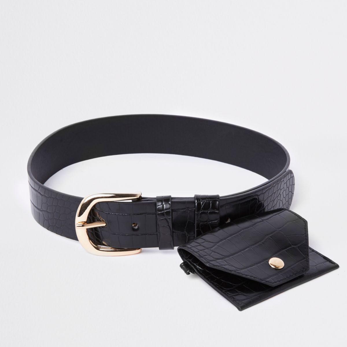 Zwarte riem met portemonnee en krokodillenprint
