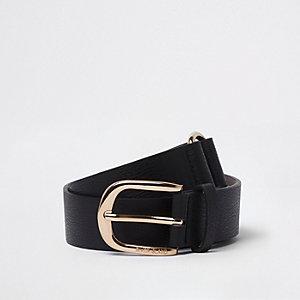 Schwarzer Jeansgürtel mit Schnalle in Gold