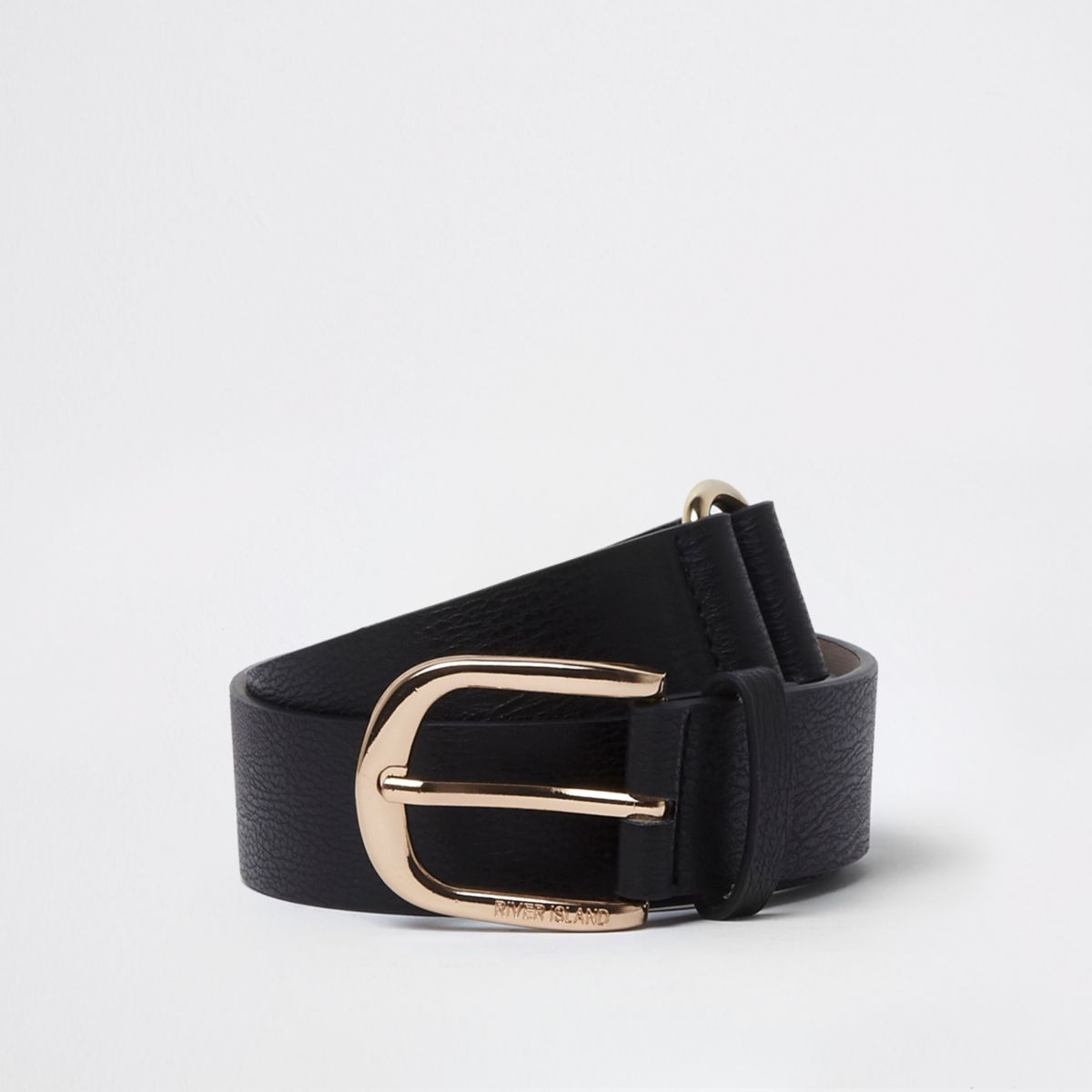 Black gold tone double link buckle jeans belt