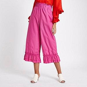 Pink frill hems elasticated waist culottes