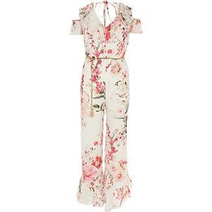 RI Petite - Roze schouderloze jumpsuit met bloemenprint