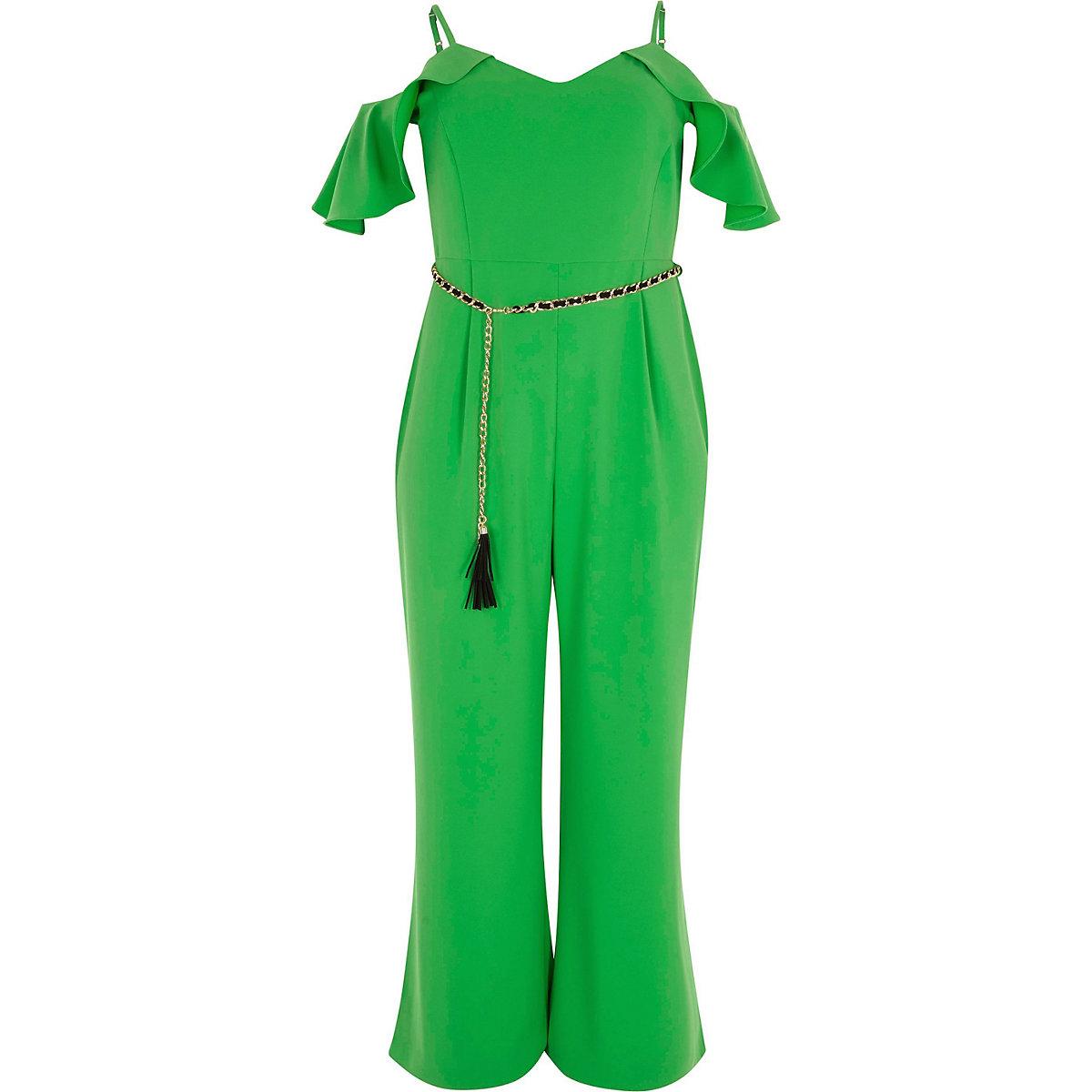 50dbb5bf97c Plus green frill sleeve bardot jumpsuit - Jumpsuits - Playsuits ...