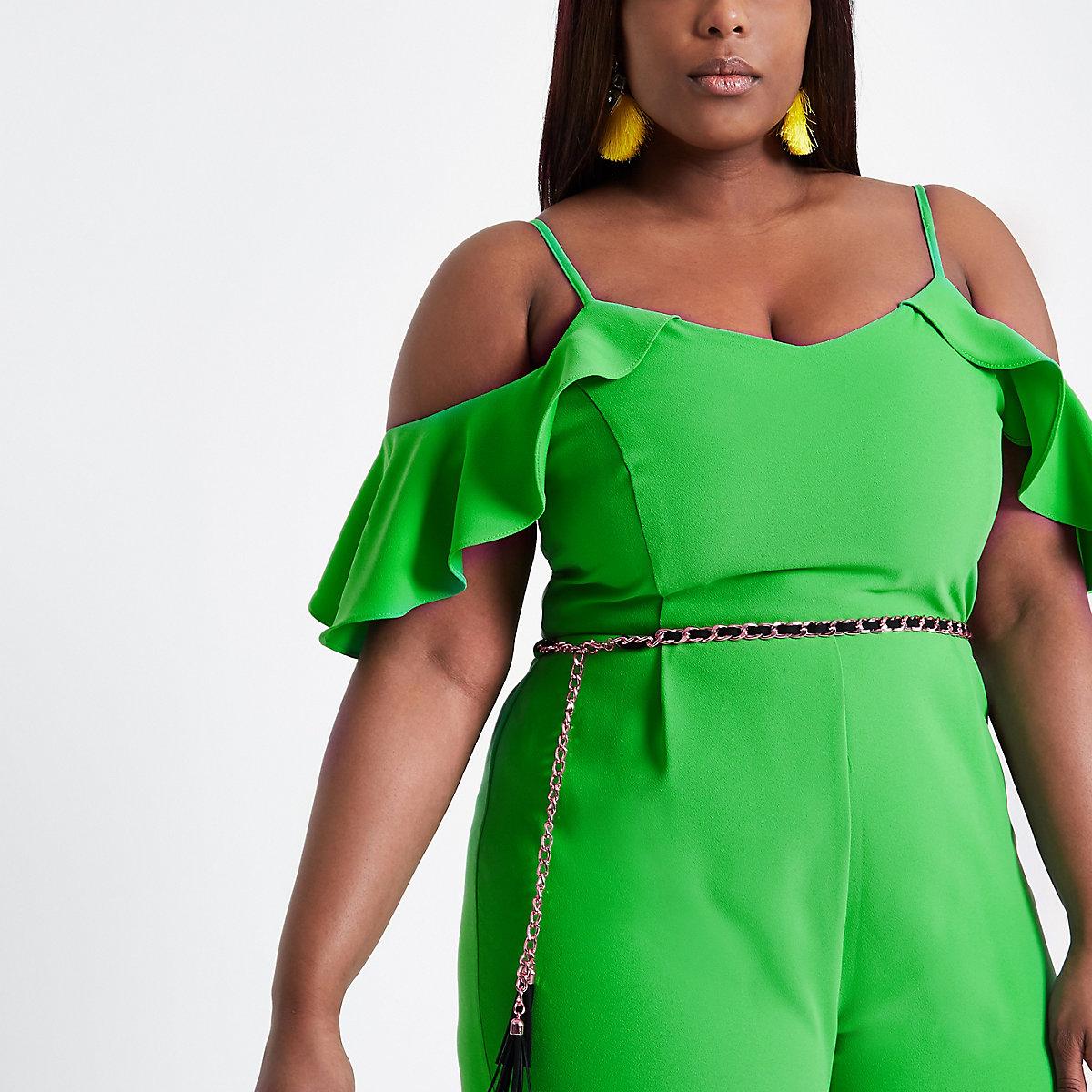 d01039db386d Plus green frill sleeve bardot jumpsuit - Jumpsuits - Playsuits ...