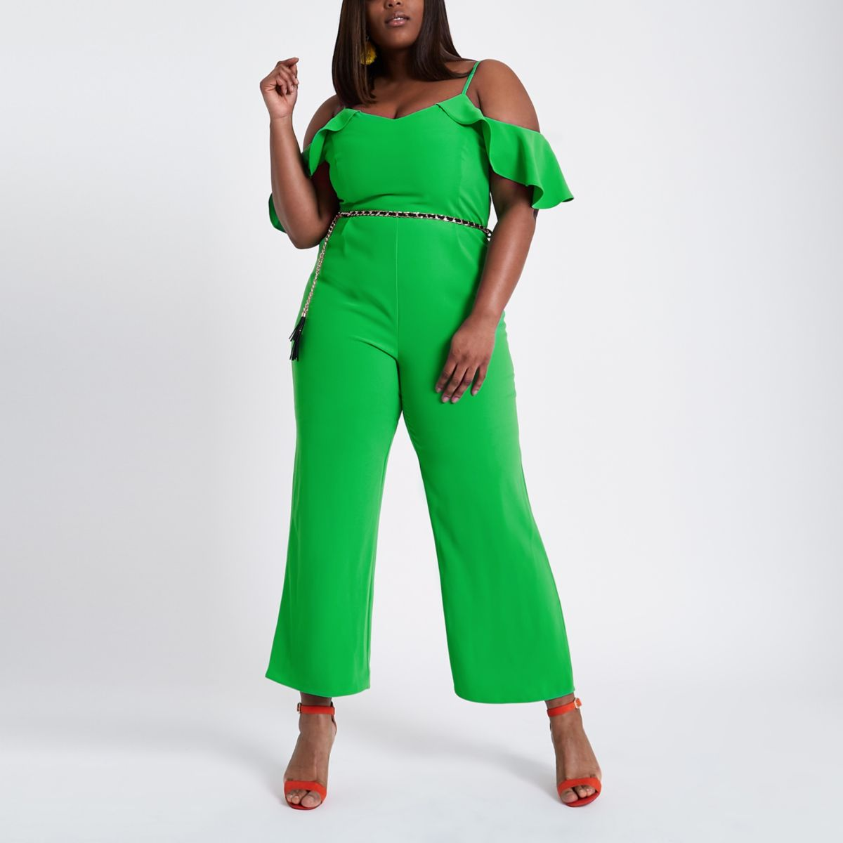 Plus green frill sleeve bardot jumpsuit