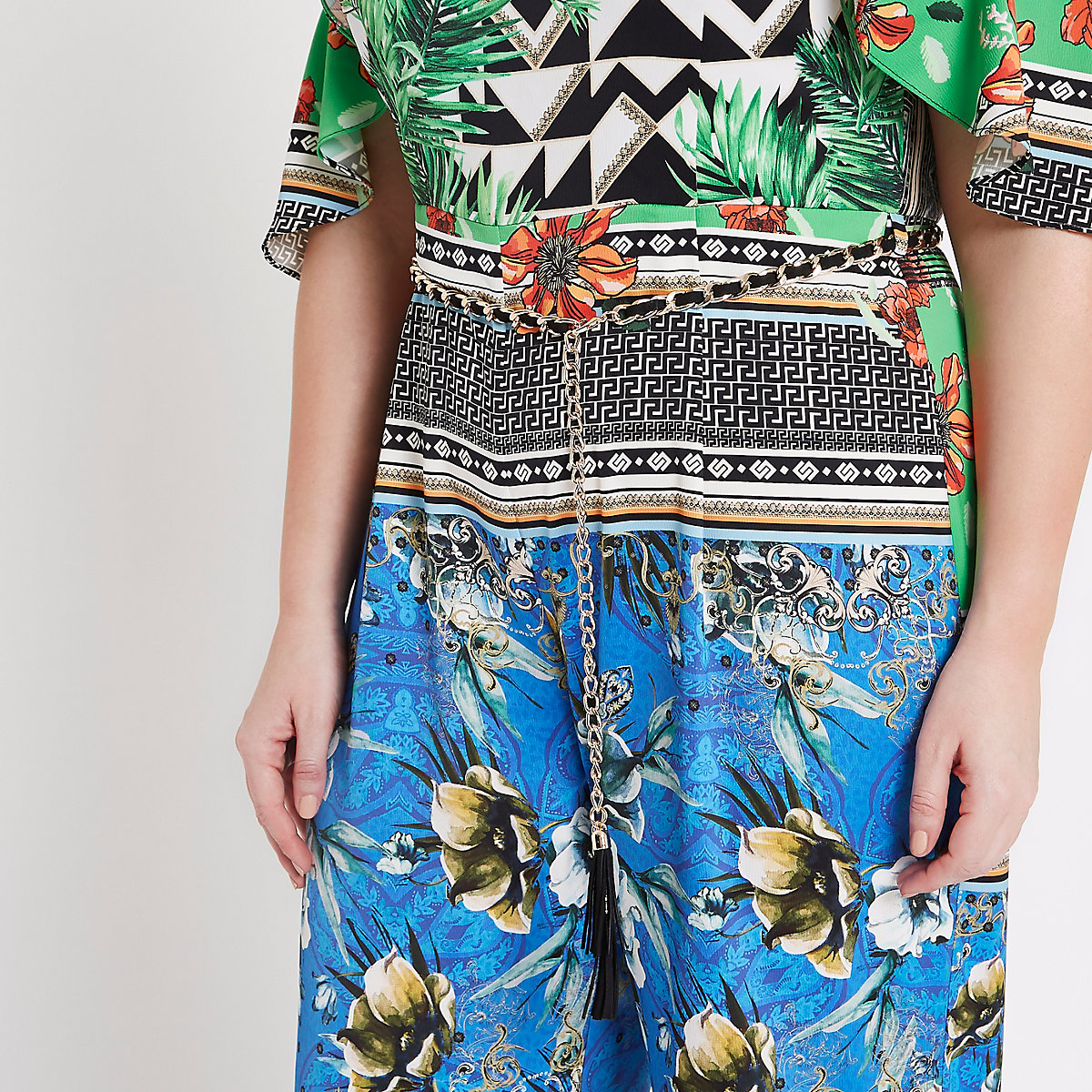 Plus green scarf print bardot jumpsuit - Jumpsuits - Playsuits ... 8c7c0b98667a3