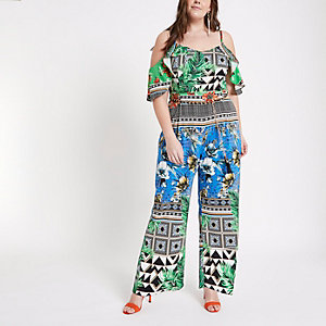 Plus green scarf print bardot jumpsuit