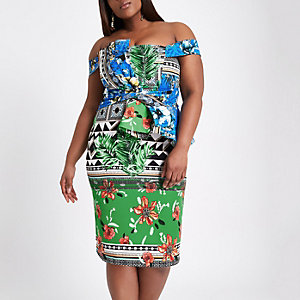 Plus green scarf print bardot bodycon dress