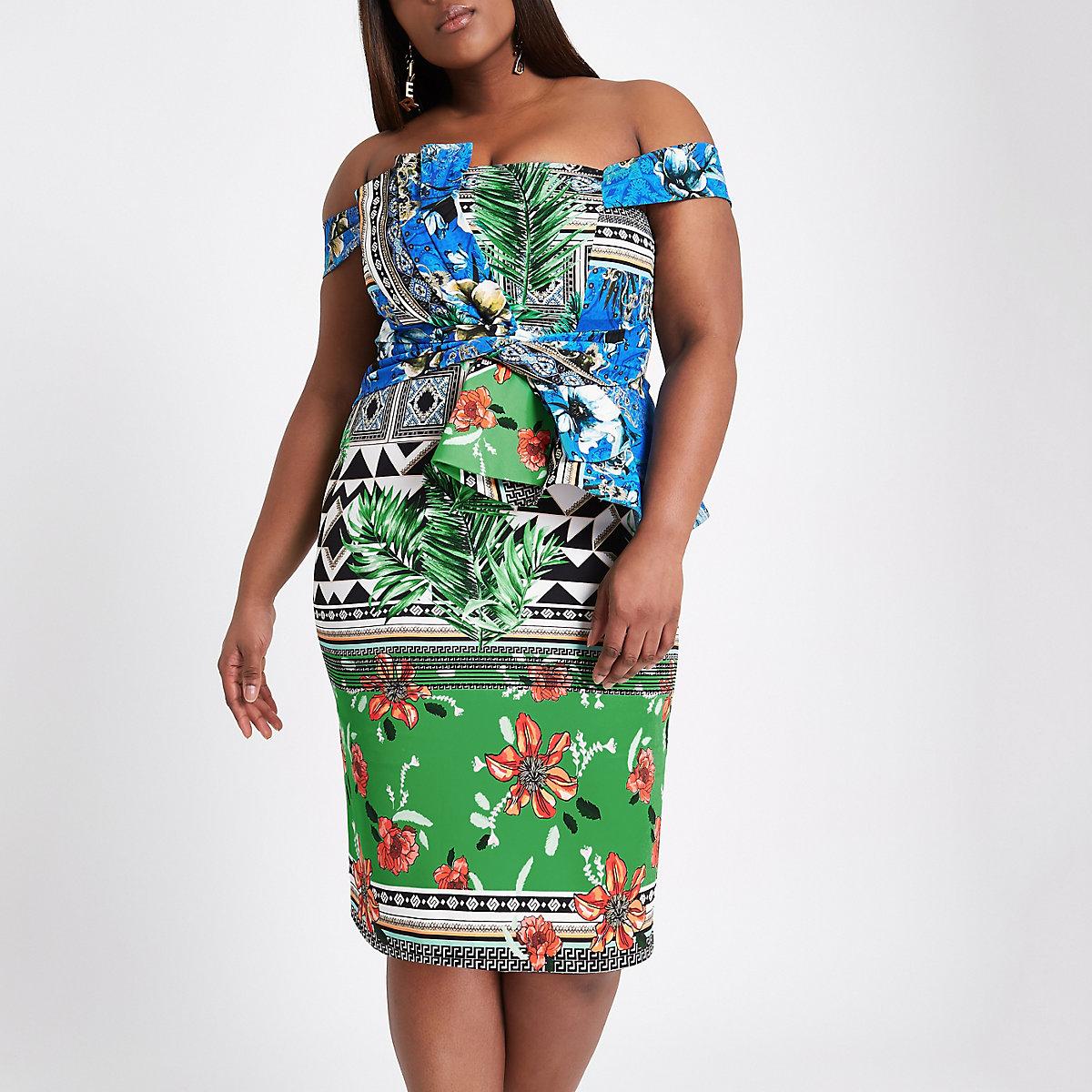 Plus green scarf print bardot bodycon dress