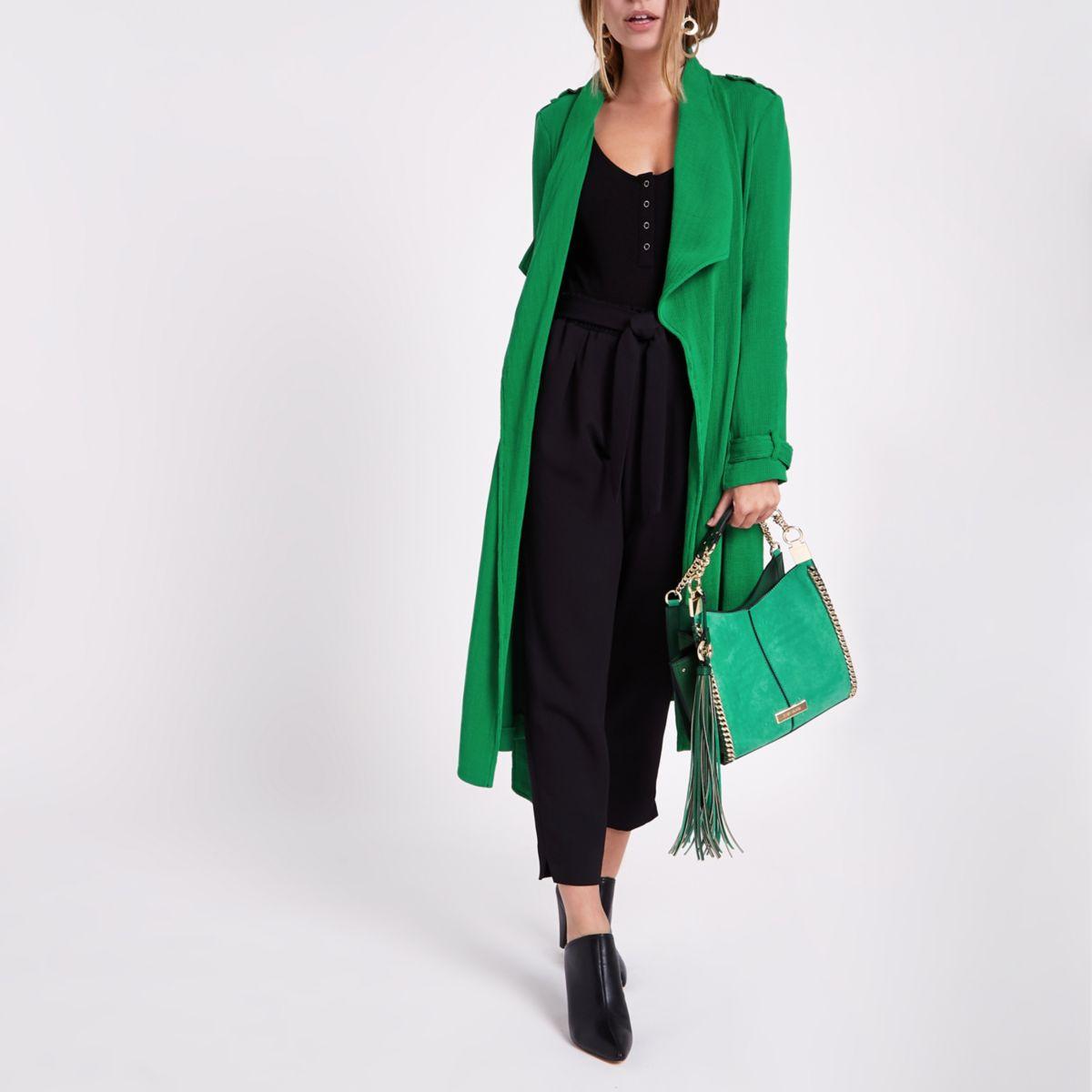Petite green fallaway tie waist duster coat