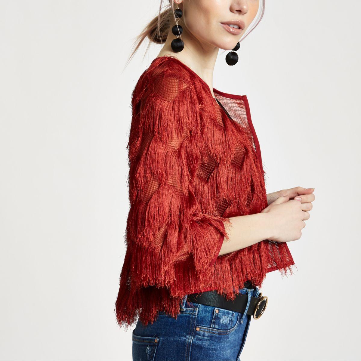 Petite rust red fringed jacket