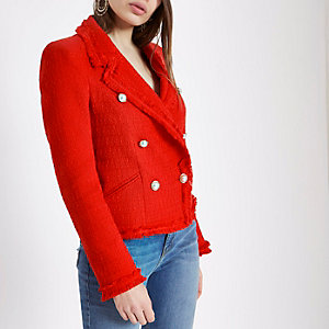Red boucle double-breasted jacket