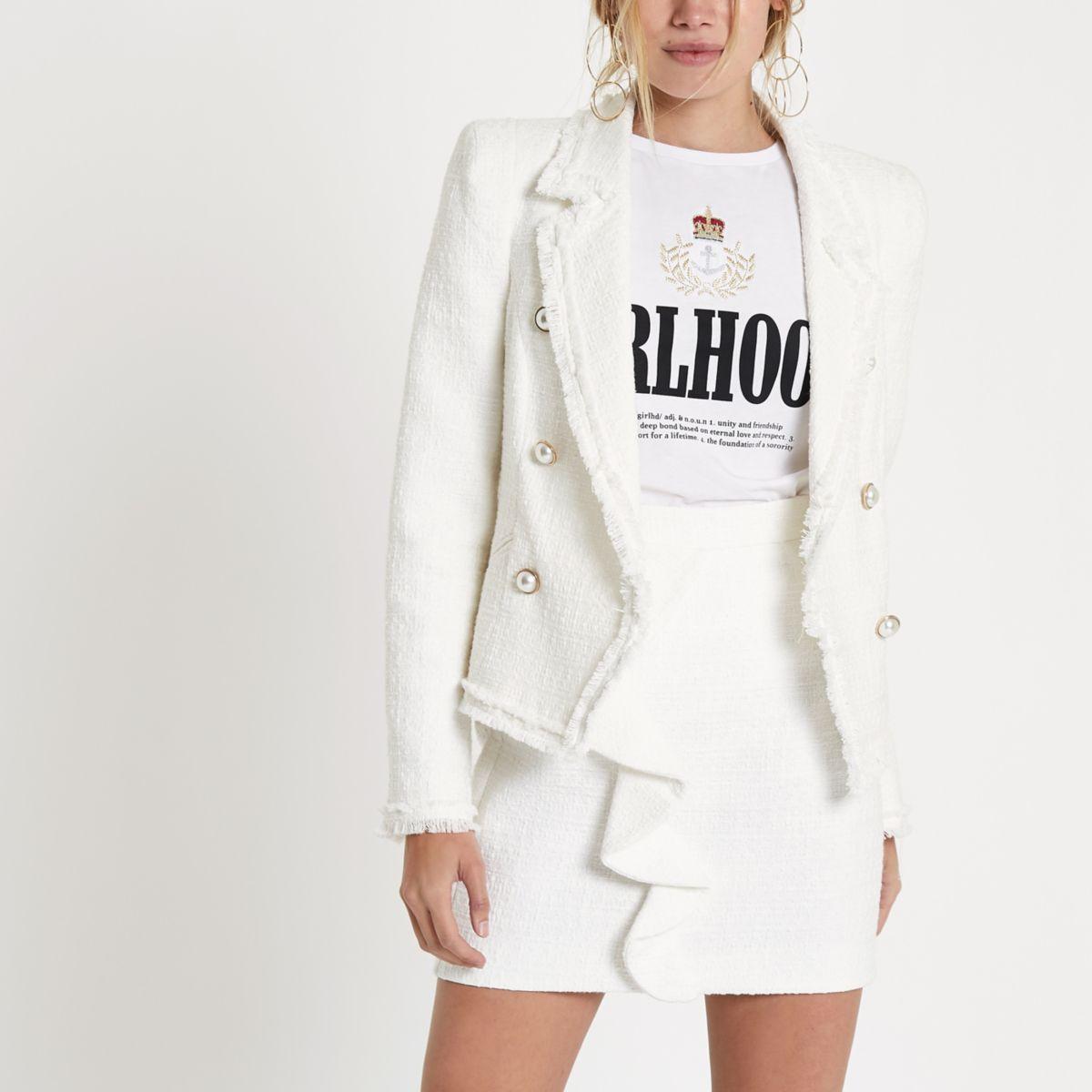 White boucle double-breasted jacket