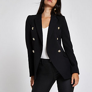 Black double breasted tuxedo jacket