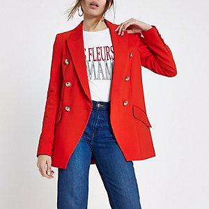 Rote, zweireihige Smoking-Jacke