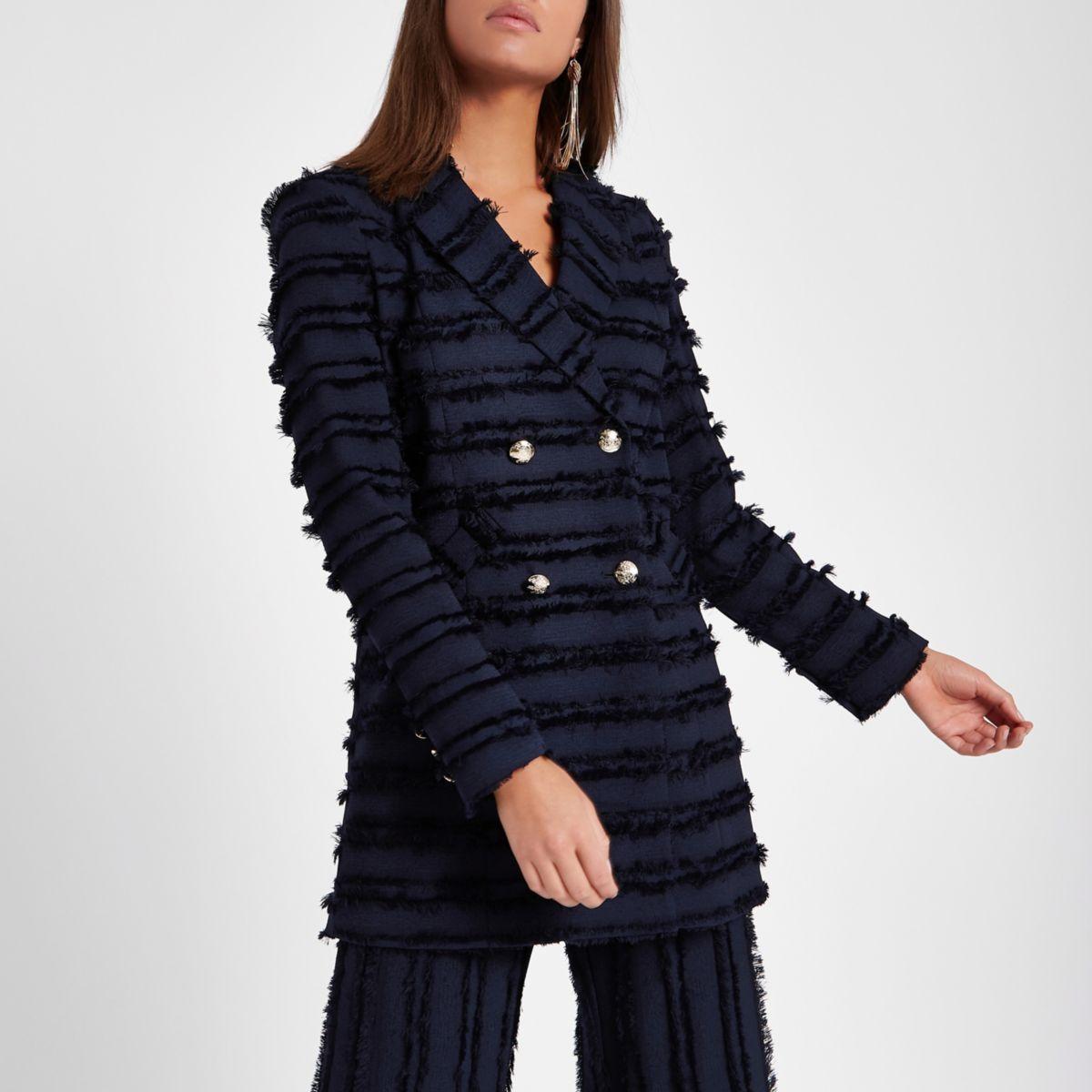 veste crois e bleu marine franges manteaux vestes promo femme. Black Bedroom Furniture Sets. Home Design Ideas