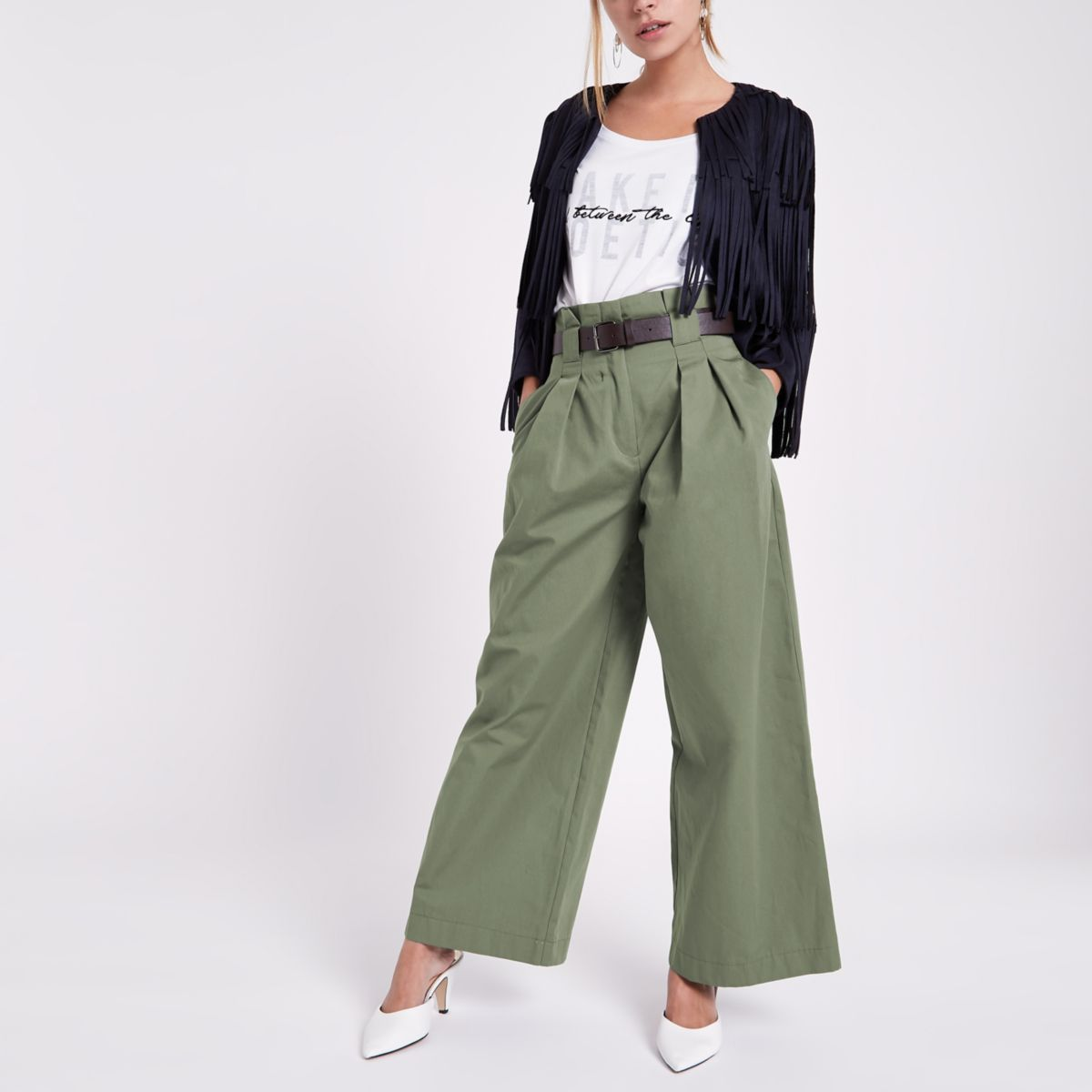 Petite green paperbag waist wide leg trousers